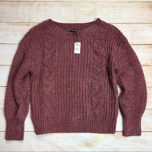 Express mauve chenille cable knit sweater S